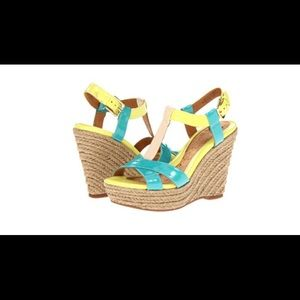 Sofft Pedra Teal & Neon Yellow Wedges